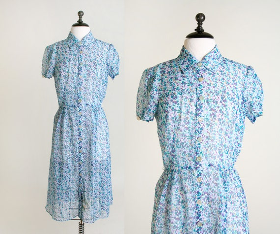 Vintage Sheer Floral Dress - Sky Blue and Plum Purple Abstract Flowers - Medium