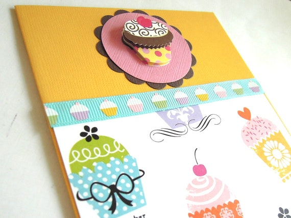 Lots Of Cupcakes - Handmade Birthday Greeting Card - RESERVED FOR PAM