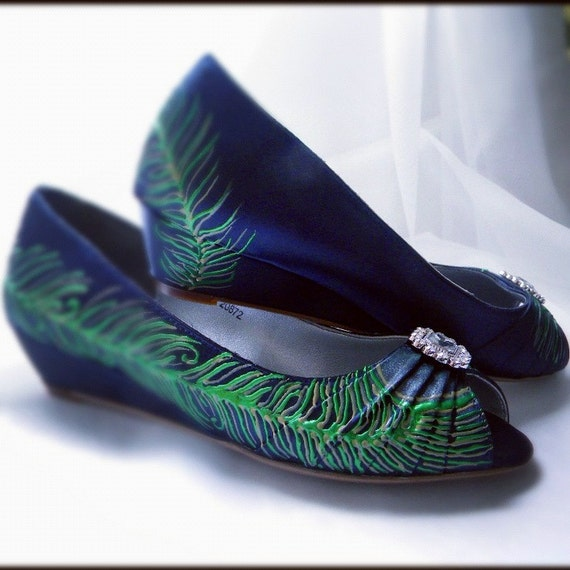 items similar to wedding shoes navy blue peacock feather