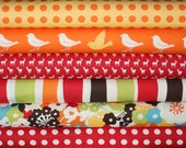 Oh Deer Japanese fabric bundle by Momo for Moda - Red 1/2 Yard Bundle- 6 total