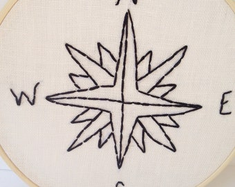 Embroidery Hoop Art.  Compass.  Hoop Art Home Decor.