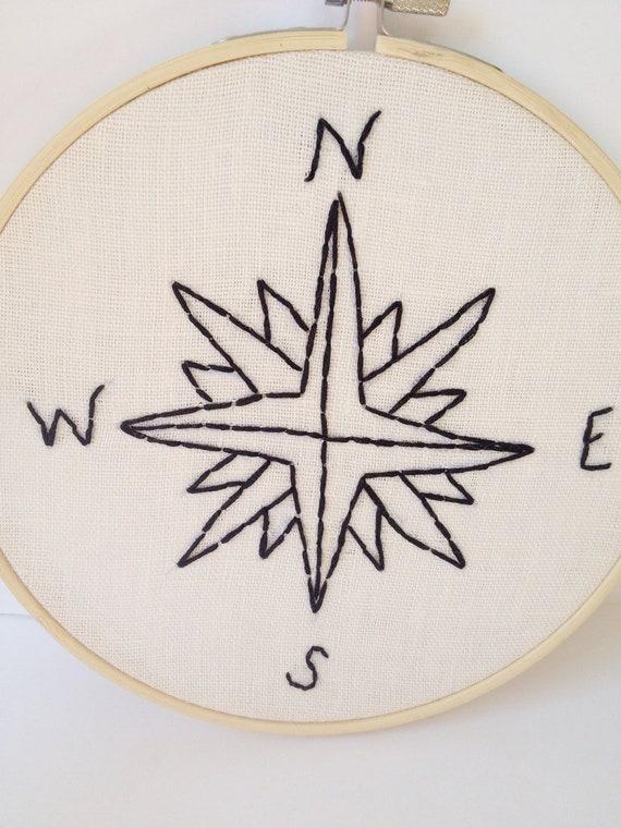 Embroidery Hoop Art.  Compass.  Hoop Art Home Decor.
