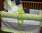 Custom Lime/Chartreuse Grey and Navy Designer Boutique Crib Bedding Set CHOOSE & CUSTOMIZE