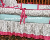 Custom Grey Damask with YOUR CHOICE of Accent 4-Piece Complete Boutique with Piping and Ruffles Crib Nursery Bedding Set