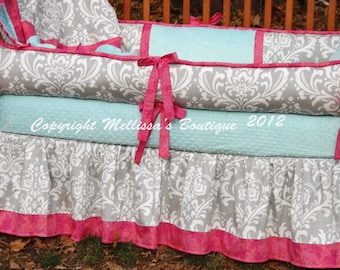 Custom Grey Damask Floral with Hot Pink/Fuchsia & Aqua 4-Piece Complete Boutique with Piping and Ruffles Crib Nursery Bedding Set