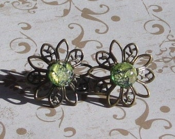 Earrings / Vintage Green Fire Opals and Filgree