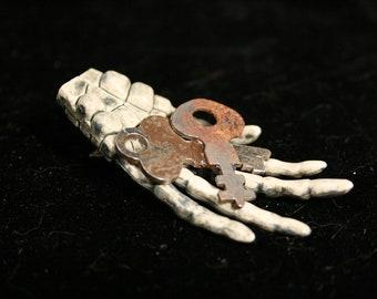 "Skeleton hands hair clips steampunk keys geek halloween gothic ""rusted"" -- Sisters of the Moon"