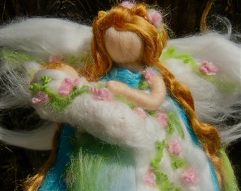 Needle felted Blooming Pastel Mommy By Rebecca Varon - blessing angel made to order -