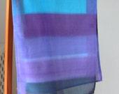 thin fabric scarf    hand made cotton  fabric scarf    hand made cotton scarflette oblong striped shawl marine.