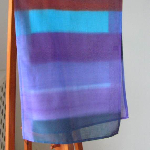 thin fabric scarf    hand made cotton  fabric scarf    hand made cotton scarflette oblong striped shawl marine.