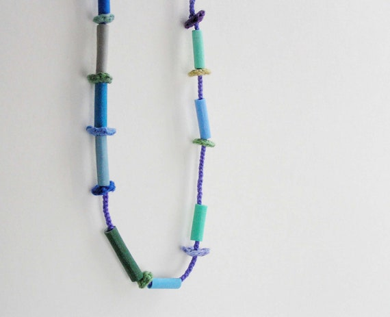 fiber art  necklace -  beaded necklace -  blue green turquoise ombre necklace - textile jewelry