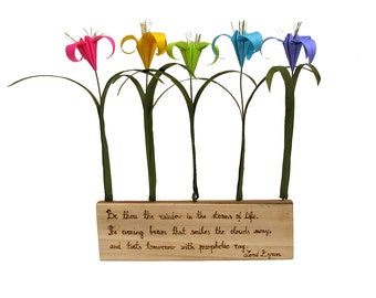 Rainbow Lord Byron Quote Rustic Natural Poplar Wood with Origami Flowers by PaperDisciple and Tanja Sova