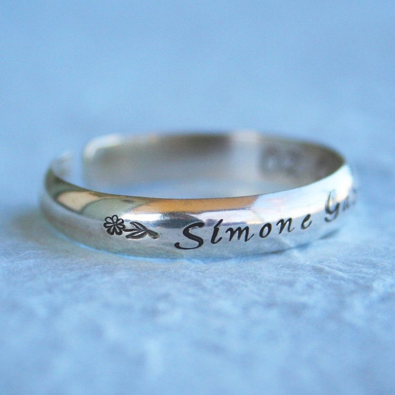Baby Jewelry - Sterling Baby Cuff Bracelet- Handstamped Jewelry for Baby