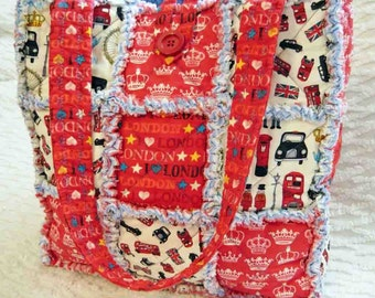 London Rag Quilt Tote - red white - London Vacation - England Tote - London Icons Tote - Handmade