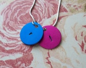 Handstamped Colorful Initial Necklace