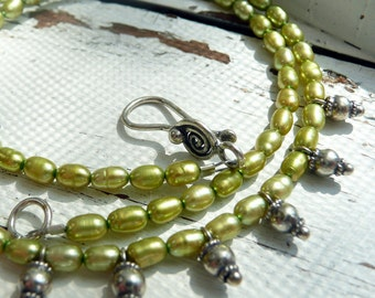 SALE OOAK Artisan Choker Necklace Green Fresh Water Pearls Sterling Silver Charms Boho Hippie Gypsy Festival Beautiful Gift for Her