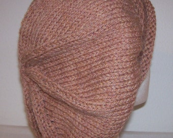 Rolled Brim Wool Tam - Slouchy Knit Beret - Knitted Dreadlock Tam - Wheat Heather