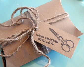 Packaging Tags Hand Crafted With Love Scissors