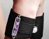 Shi Black Leather Cuff with Silk Stained Glass by Shi Studio