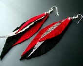 Leather Feather Earrings - Black, silver and red.