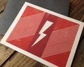 Red Lighting Bolt - A2 Blank Card