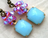 Robin's Egg Blue Glass and Pink Crystal Earrings