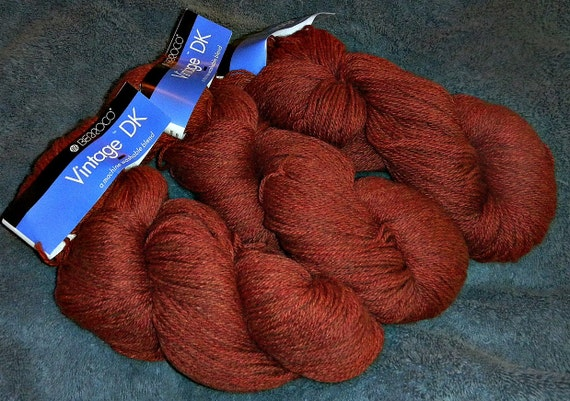 15 Percent Off Sale use Coupon Code WOOL15 Three Skeins of Berroco Vintage DK Wool Acrylic Nylon Yarn