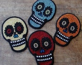 Vintage Day of The Dead Sugar Skull Patch Yellow