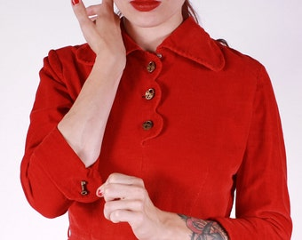 40s 50s Dress - Novelty Red Corduroy with LOCK and KEY Buttons - Small