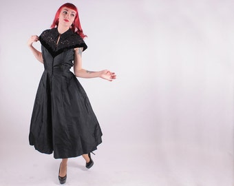 50s Dress - Black Princess Seam Zip Front Cocktail Party Dress - SM  M