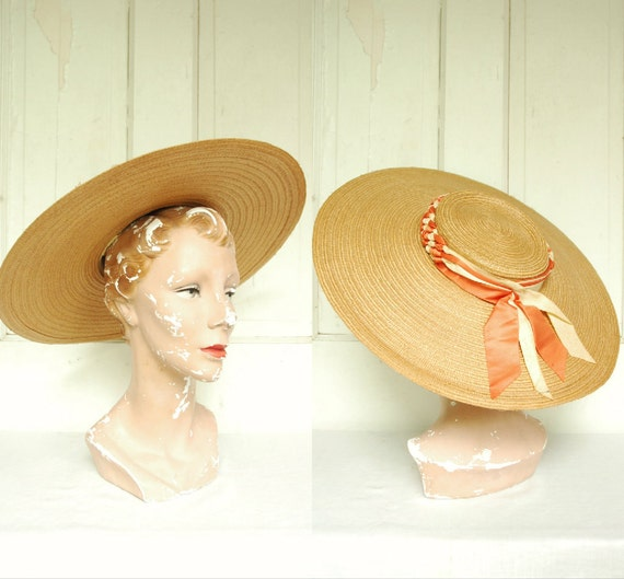 1950s Summer School Girl Hat / Vintage Straw Sun Hat