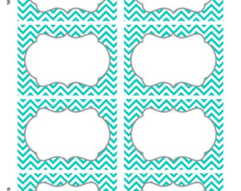Turquoise Chevron Labels  Print your own Labels  - 5 versions