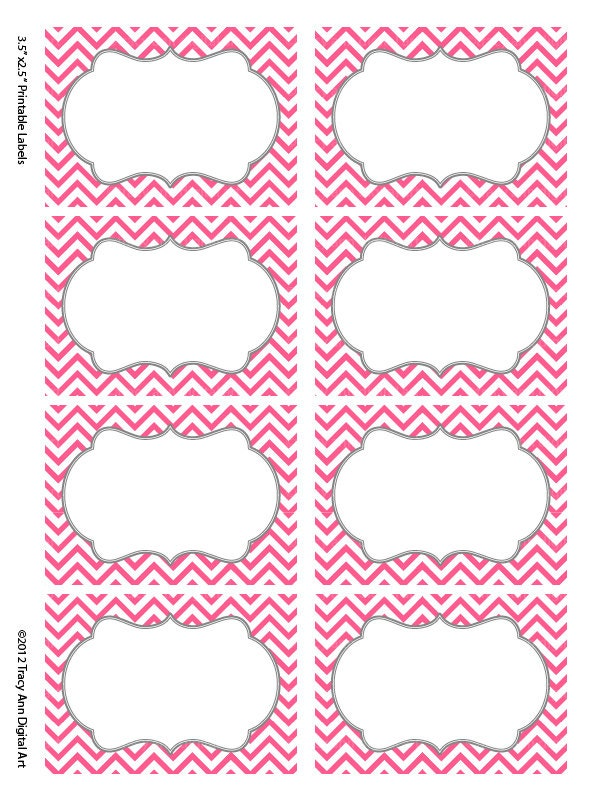 Hot Pink Chevron Labels Print Your Own Autumn
