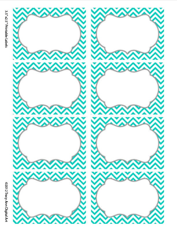 Turquoise Chevron Labels Print your own Labels 5 versions