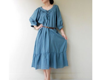 Custom Made Simply Blue Soft Cotton Sweet Maxi Boho Summer Casual Dress M-L  (M)