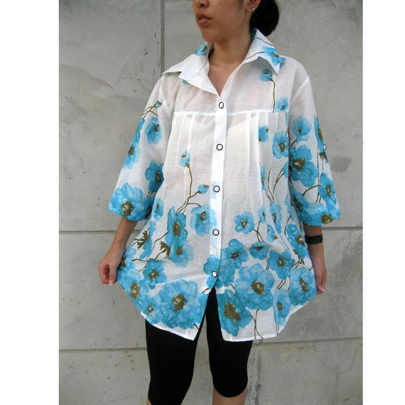 Sale Blue Floral India cotton Boho simply Blouse  B02