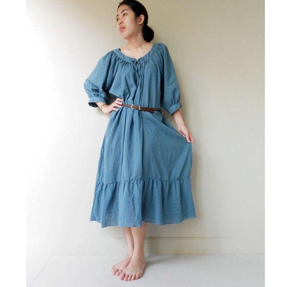 Custom Made Simply Blue Soft Cotton Sweet Maxi Boho Summer Casual Dress M-L  (M)
