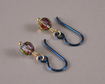Niobium earrings Navy Niobium Swarovski Vitrail round beads Kaleidoscope