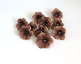 Polymer Clay Flower Beads, Latte Light Brown Wildflower 793