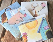 recycled book pages into small envelopes -- down on the farm