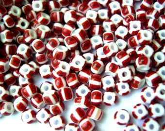 15gr Czech glass beads , more then 200 beads, white with red stripes 3mmX3mm