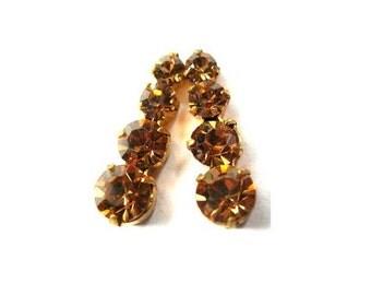 2 Swarovski vintage jewelry finding 4 rhinestone crystals in brass setting, topaz color