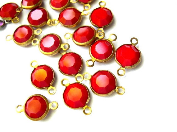 5 Vintage Swarovski Austrian red crystal channel connectors beads
