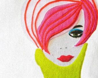 mod  portrait fabric print  pinky hair funky