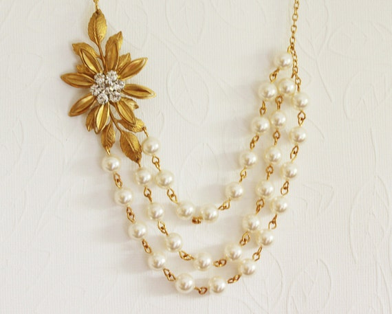 Gold Flower Necklace Gold Wedding Necklace Gold Pearl Necklace Bridesmaids Necklace Gold  Leaf Necklace Rhinestone Flower Necklace