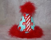 Personalized Dr. Seuss-inspired Party Hat - 1st Birthday - Red & Blue - Polka Dots - Boy or Girl - Cake Smash - Celebration - Decor
