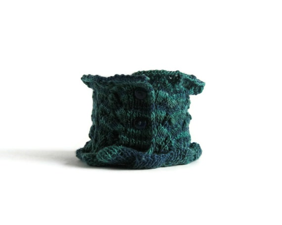 Lace Scarflette Knitted Teal Green and Blue Merino Wool