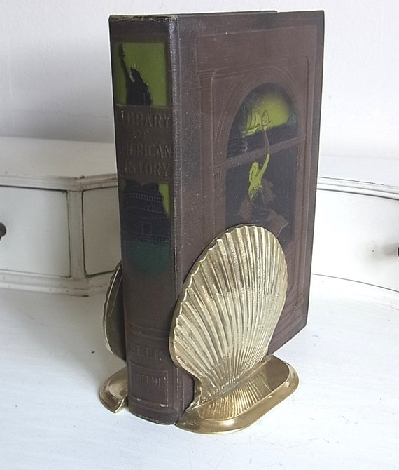 Brass Seashell Bookends Vintage Pair of Shells