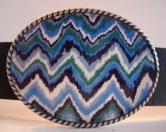 Zig Zag Blues Belt Buckle