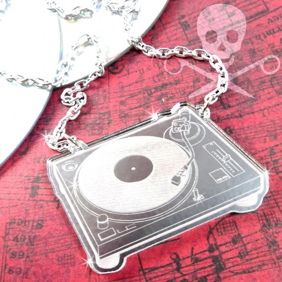 HEY MR DJ -  Sale - Silver Laser Etched Turntable Acrylic Necklace
